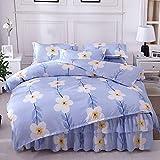 WHoIppRmOrella Bettrock mit Rüschen, einfarbig, elastisch nordische vereinfacht die weißen Wolken aus 100% Baumwolle bedskirt matratzenbezug Petticoat bettdecke-ZF-Queen