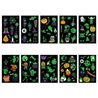 TAZEMAT 20 Sheets Halloween Temporary Tattoos for Kids Glowing in The Dark Sticker Luminous Cartoon Decals Washable Fluorescent Shimmer Long Lasting Children Birthday Parties Carnivals Supplies
