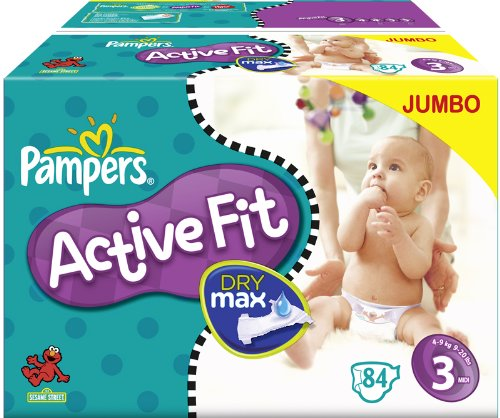 Pampers Active Fit Size 3 Midi Nappies - 2 x Jumbo Packs of 84 (168 Nappies)