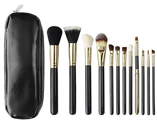 RoseFlower® Professionnel 12 Pcs Pinceaux Maquillage Trousse - Pro Make Up Cosmétique Brosse / Brushes Kit Pour Visage Blending Fondation Blush Eyeliner Poudre