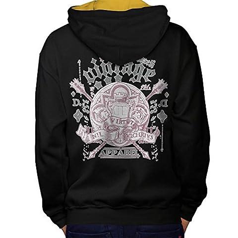 Guitare Jouer La musique Cru Vêtements T-shirts Homme XL Sweat à capuche contrasté le dos  