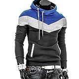 Amlaiworld Herren Herbst Winter Freizeit Sweatshirt Mode Sport Kapuzenpullover bunt Flickwerk Fitness Mäntel bunt Weich Warm Langarmshirts (L, Dunkelgrau)