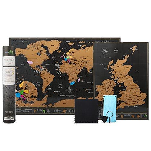Scratchable mappa del mondo viaggio di formato A3(42x 29.7cm) + bonus A4UK Map–Kit con accessori e Gift Tube–Deluxe Cartografici design by Atlas & verde