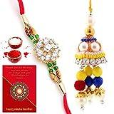 #4: Traditional Villa Jaipuri Handmade Ethnic Design Bhaiya Bhabhi Rakhi Gift Set Rakhi For Bhaiya Bhabhi And Rakhi For Bhaiya Bhabhi Combo And Rakhi Gifts For Brother Rakhi Set Free Shipping+Roli+Chawal+Greeting Card !!-2Bbs285