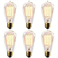 fsliving 6 Pack 60 W edison nostalgico Waterdrop a forma di Top E26 dimmerabile Filamento a (Hanging Media Base Socket)