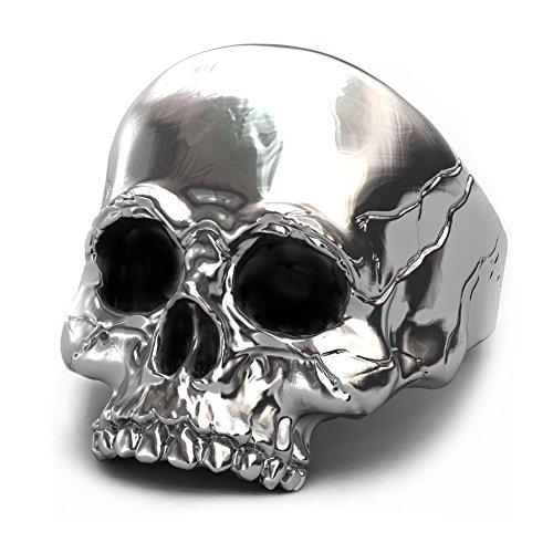 EVBEA anillo de calavera plata de motero grande para hombre para...
