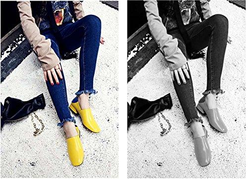 NobS Donne Rivestono Pelle Mama Pattini Casuali Mid Coordinati Tacco Colori Scarpe Lavoro Scarpe Yellow