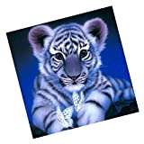 #4: NF&E DIY Animals Embroidery 5D Diamond Painting Cross Crafts Stitch with Tools Home Decor Tiger Blue