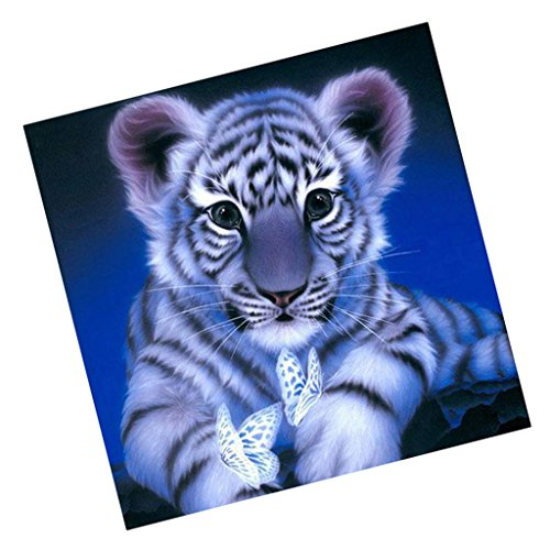 NF&E DIY Animals Embroidery 5D Diamond Painting Cross Crafts Stitch with Tools Home Decor Tiger Blue