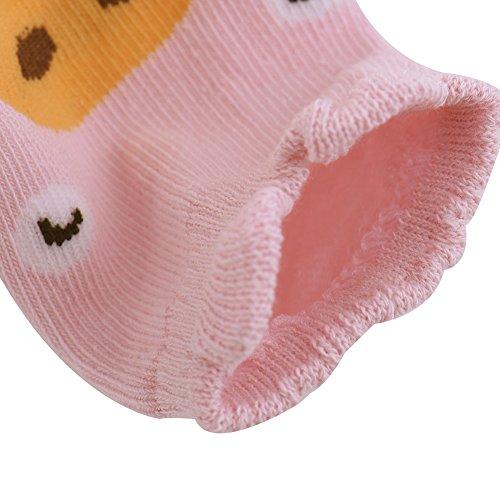 Bébé Antidérapant Chaussettes Courtes Chaussons avec Mignonne Animal Conception pour 0-2 ans (Gris) Rose