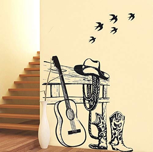 Gitarre Wandaufkleber Wohnkultur DIY Musikinstrument Hauptdekorationen Rock Musik Wandtattoos Wohnzimmer ()