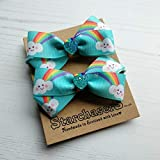 Happy Cloud Hair Bobbles, Pack of 2 Handmade hair elastic with cute cloud printed ribbon.
