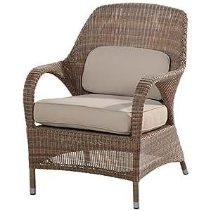 4 Seasons Outdoor Furniture Sussex braun Polyloom Rattangeflecht Sessel, Taupe