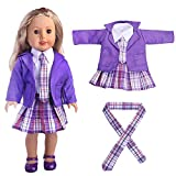 IGEMY _ For American Girl Doll Clothes Set, 4PC Student Clothing Pleated Dress Uniform Outfit For 18 inch American Girl Doll (Purple)
