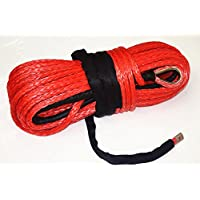 Red 14mm Synthetic Winch Rope,UHMWPE Rope for Electric Winch, Plasma Winch Rope,ATV Winch Line (14mm*30m)