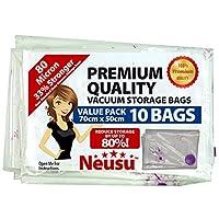 Neusu Vacuum Storage Bags, Premium 80 Microns, 10 Pack Medium 70x50cm