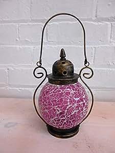 Globe en verre mosaïque rose photophore lanternes pour la maison ou le jardin