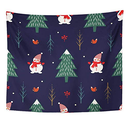 """AOCCK Wandteppiche Tapestry Wall Hanging Xmas Tree Snowman Squirrel on Dark Blue Holidays Year Christmas Cartoon 60\"""" x 80\"""" Home Decor Art Tapestries Bedroom Living Room Dorm Apartment"""
