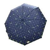 Poly Pongee Süß Cartoon 3 Stufen Faltbarer Regenschirm Sonnenschirm UV-Schutz Auf-zu-Automatik Schirm Kompaktschirm für Outdoor Camping (Dunkelblau)