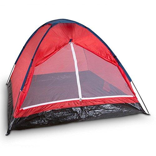 Yukatana Cenote 3 Mann Zelt Campingzelt Kuppelzelt Festival Zelt für 3 Personen (wasserabweisendes Polyester, Innen-Maße: 180 x 130 x 200cm, verstärkter, wasserfester Zeltboden., Gewicht: 1,8kg) rot
