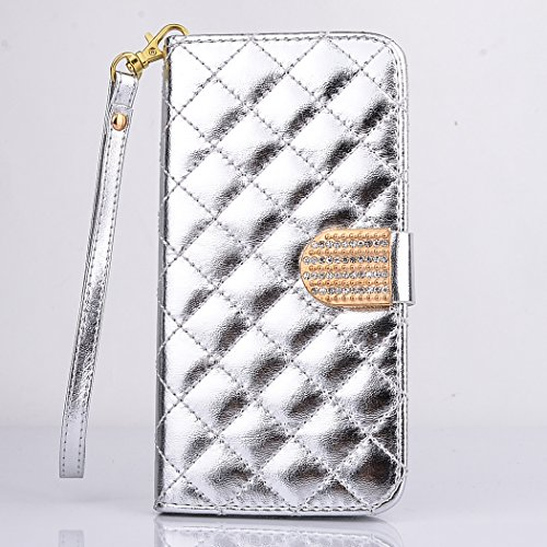 Apple iPhone 6 / 6s Coque, SsHhUu Luxe Bling brillant Premium PU Cuir Bling diamant bouton Pochette Stand Flip Protecteur Étui Housse Case Cover pour Apple iPhone 6 / 6s (4.7 pouce) Pink Blanc