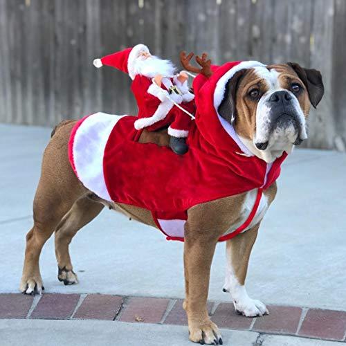 Dkings Running Santa Weihnachten Haustier Kostüme, Santa Hund Kostüm Hund Bekleidung Party Dressing up Kleidung für kleine große Hunde Katzen Kleidung Haustier Outfit (Kleiner Junge Aus Up Kostüm)