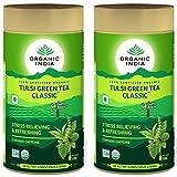 Organic India Tulsi Green Tea 100g Tin (Pack of 2)