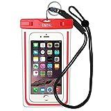 EOTW IPX8 Wasserdichte Tasche, Wasser- und staubdichte Hülle für Geld, Datenträger und Smartphones bis 15,24 cm (6 Zoll), Ideal für den Strand, Wassersport, fürs Radfahren, Angeln, usw. … (Red)