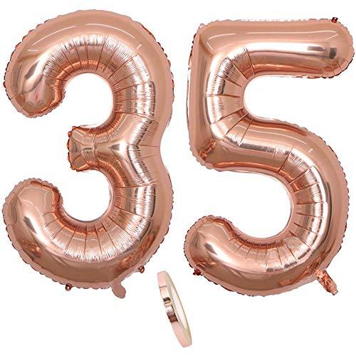 2 Luftballons Zahl 35, Nummer 35 Luftballon Rosegold Mädchen ,40