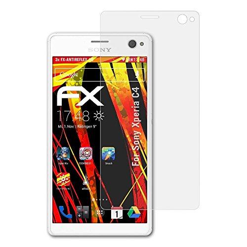 atFolix Schutzfolie kompatibel mit Sony Xperia C4 Bildschirmschutzfolie, HD-Entspiegelung FX Folie (3X)