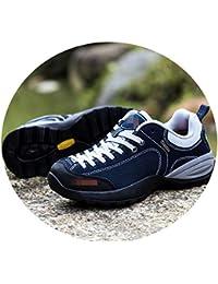 SHOES Zapatos Al Aire Libre De Otoño E Invierno, Zapatos para Caminar Femeninos, Zapatos Antideslizantes De Cuero Resistentes Al Desgaste Y Transpirables,Azul,40