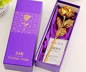 ShopAIS Rose with Gift Box and Carry Bag - Best Gift on Valentine's Day, Rose Day. Gold Dipped Rose with Gift Box