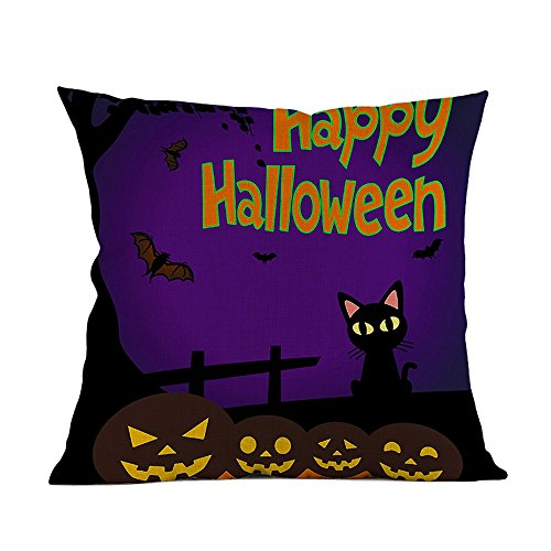 Lenfesh Happy Halloween Kissenbezug Dekorationen Schwarz Katze/kürbis Thema Sofa Home Decor Dekokissen 45 X 45 cm Fall Kissenbezüge (Vintage Halloween-dekoration Katze Schwarze)