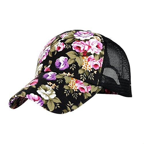 Lucky Will Einstellbar Blumen Muster Baseball Kappe Mütze Snapback Cap Trucker Cap Sonnenhut Sommerhut für Damen Schwarz