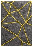 Think Rugs Royal Nomaden Geometrische Design Teppich Weich Shaggy Flor Modern Home Decor Fußmatte (Verschiedene Größen und Farben), Polypropylen, gelb, 120 x 170 cm