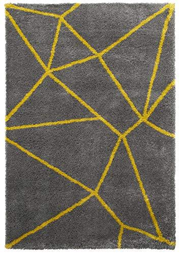 Think Rugs Royal Nomaden Geometrische Design Teppich Weich Shaggy Flor Modern Home Decor Fußmatte (Verschiedene Größen und Farben), Polypropylen, gelb, 120 x 170 cm -