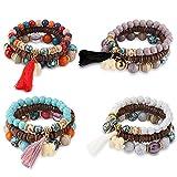 Yadoca Bohème Bracelet Femme Fille Manchettes en Boule Bracelets Faits à la Main Fil Bracelet Elastique Multicolore