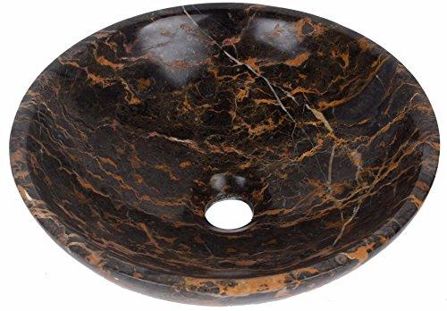 Bol rond de salle de bain lavabo en marbre Portoro Pierre 300 mm Diamètre (b0062)