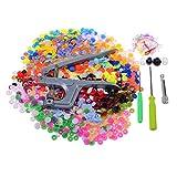 Muzee Snap Knöpfe und Zangen Set 360 Stk Plastik T5 Nähfixierer für DIY Nähen (24 Farben, Größe 20)