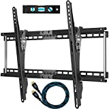 "Cheetah Mounts APTMM2B TV Wall Mount Bracket for 20-75"" TVs Up To VESA 600 and165lbs, includes a 10' HDMI Cable with Braided Jacket and a 6"" 3-Axis Magnetic Bubble Level"