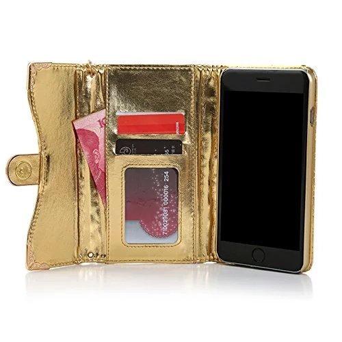 Vandot 3 in 1 Accessori Bling Case Cover Cuoio Del Diamante Magro Flip Case Set per iPhone 5 5S, Portafoglio Card Cover PU Elegante Brillante Cristallo Rhinestone Magnetico Basamento Libro Protettiva  Oro