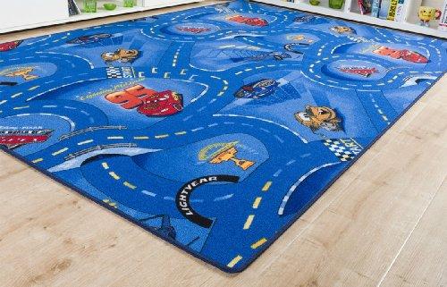 Kinderteppich Cars Blau - Spielteppich versandkostenfrei schadstoffgeprüft pflegeleicht antistatisch schmutzabweisend robust strapazierfähig Kinderzimmer Spielzimmer Kids Fun Motiv Zeichentrick Comic , Größe Auswählen:120 x 170 cm