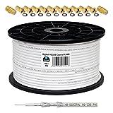 130dB 100m Koaxial SAT Kabel HQ-135 PRO 4-fach geschirmt für DVB-S / S2 DVB-C und DVB-T BK Anlagen + 10x vergoldete F-Stecker UND 2x F-Verbinder Gratis dazu