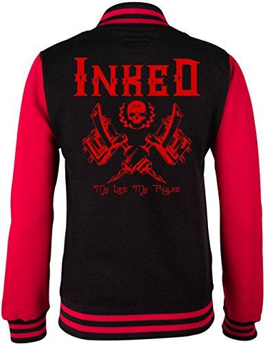 EZYshirt® Inked Damen & Herren College Jacke Damen/Schwarz/Rot/Rot