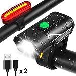 51v0egzgZEL. SS150 Luci per Bicicletta Ricaricabili USB-Super Luminose Luce Led Bici Anteriore e Posteriore-Luci Notturne Bici Modalità di…