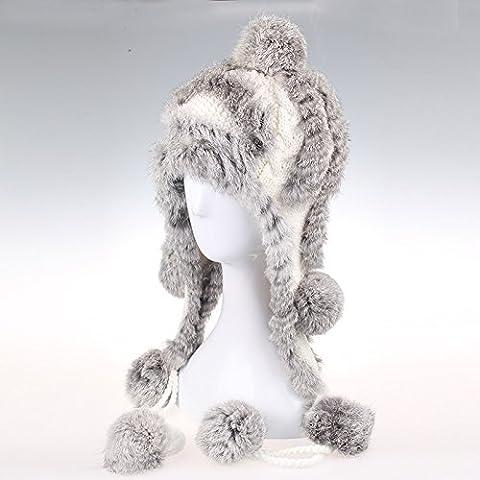 qwer Il grazioso inverno peli di coniglio sfera cappello di
