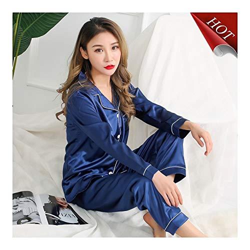 Haoliequan completo pigiama maniche lunghe in seta per donna estate pigiama autunno set pigiameria in raso di seta per pigiami da notte, 8041 lan, xl