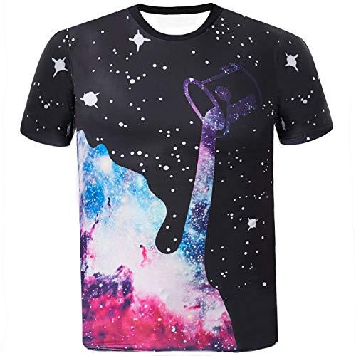 Sykooria Herren T Shirt Kurzarm 3D Druck Galaxy Paare Unisex Männer T-Shirt Tees -