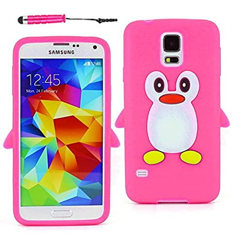 ebestStar - pour Samsung Galaxy S5 G900F, S5 New G903F Neo - Etui Housse Coque Pingouin Silicone Souple + Mini Stylet tactile, Couleur Rose [Dimensions PRECISES de votre appareil : 142 x 72.5 x 8.1 mm, écran 5.1'']