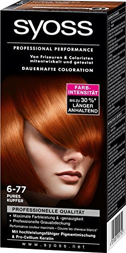 Syoss Haarfarbe Pures Kupfer 6-77/ professionelle Grauabdeckung/ Dauerhafte Coloration/ für mittelblond bis hellbraun